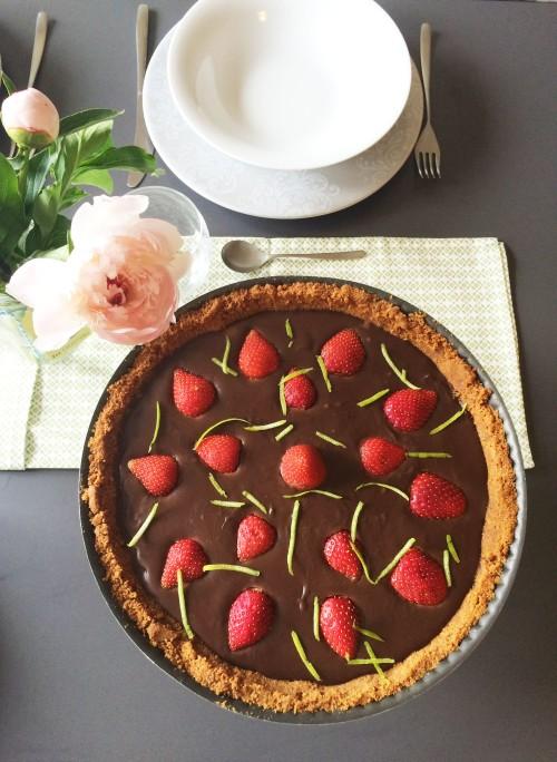 tarte chocolat speculos fraises